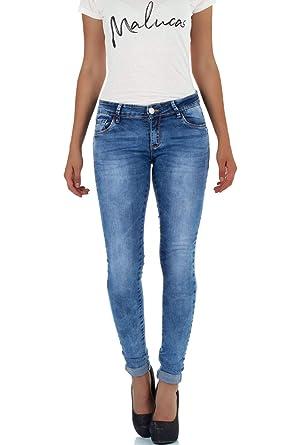 malucas Damen Jeans Skinny Hose mit Tiefem Bund Slim Fit