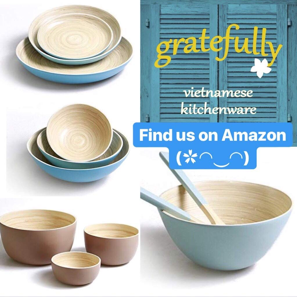 Bamboo Salad Bowl Set with Servers Bamboo Pasta Bowl Set with Servers, by Gratefully Kitchenware, Charlotte Blue, Handcrafted Spun Bambooware, Bamboo Salad Bowl with Utensils Large Salad Serving Bowl