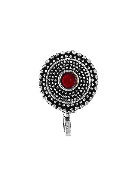 9c88fa8a10c Amazon.com  Anuradah Art Silver Oxide Finish Round Shape Designer ...