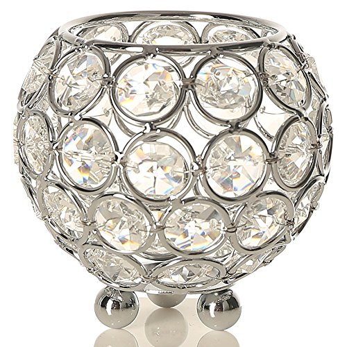 Decorative Holder (VINCIGANT Silver Crystal Tealight Candle Sleeve Holders for Wedding Coffee Table Decorative Centerpiece Birthday/Father's Day Gifts,3 Inch Diameter)