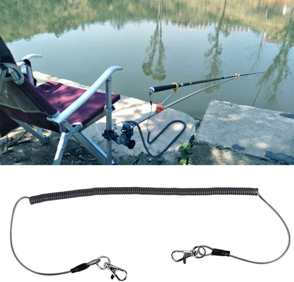 Arichtop Retr/áctil en Espiral de la Cuerda de Seguridad Pesca Cuerda de Seguridad ca/ña de Pescar Anti-perdido Correa con Hebilla en Forma de S Equipos de Pesca