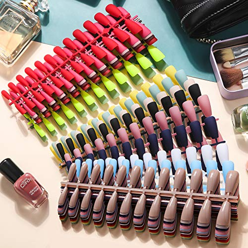 720 Pieces 30 Sets Long Ballerina Press on Nails Long Gloss Coffin Fake Nails Matte Coffin Artificial Nails Tips Full Cover False Nails for Nail Salon Nail Art DIY Supplies, 2 Styles