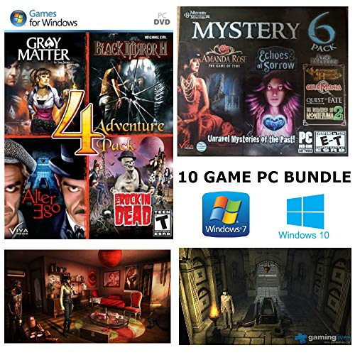 10 Game Mystery Masters and Adventure Games: Gray Matter, Black Mirror II, Alter Ego, The Rockin' Dead, Echoes of Sorrow, Amanda Rose: The Game of Time, Quest of Fate and More!