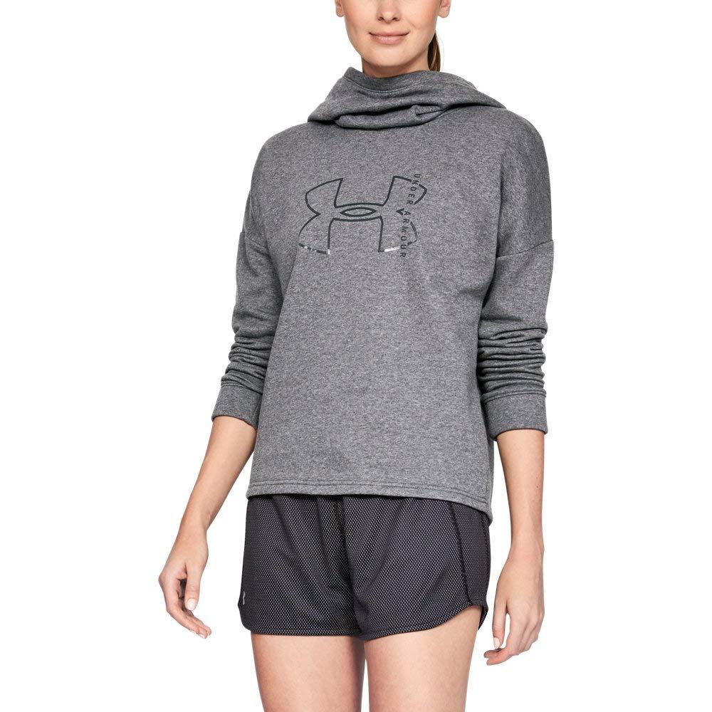 Under Armour Women's Rival Fleece Big logo hoodie, Charcoal Light Heath (019)/Black, X-Small