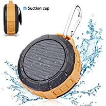 Bluetooth Shower Speaker Hcman Wireless Stereo Outdoor Waterproof Portable Speaker with Micro SD Card Slot,Built-In Mic,5W Driver, Suction Cup,Hands-Free Speakerphone
