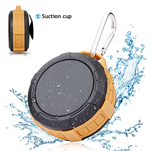 Portable Waterproof Bluetooth Shower Speaker - Hcman Mini Speakers with Micro SD Card Slot, Built-In Mic, Suction Cup, Hands-Free Speakerphone, Perfect Wireless Speaker for Home, Outdoors, Travel by Hcman