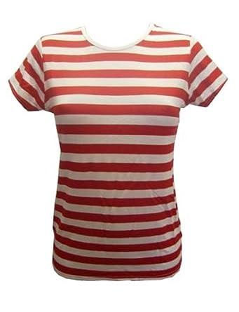Insanity - T-shirt - Femme Multicolore Rouge et blanc  Amazon.fr ... 002fb169b382