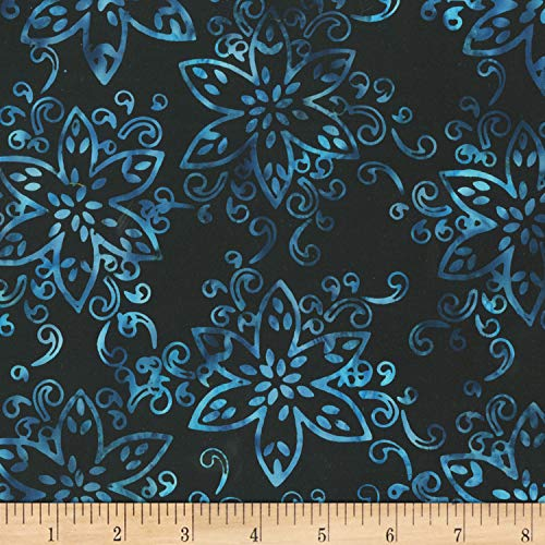 - Anthology Batiks Jacqueline de Jonge Mystical Giggles Floral Midnight Fabric Fabric by the Yard