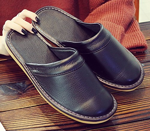 Leather Slippers Black Cattior House Solid Mens Slippers q8F8xtEw