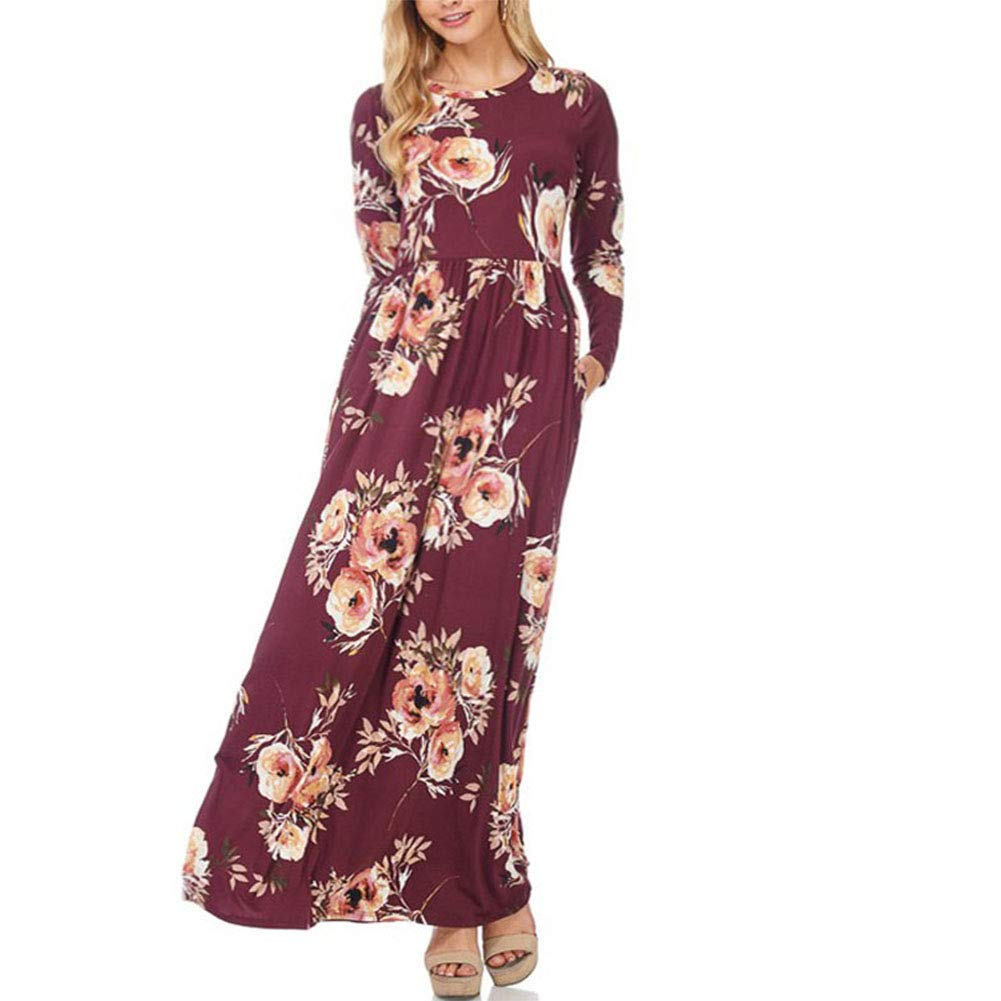 Gersymi Womens Floral Maxi Dresses with Sleeves Casual Loose Plain Swing Tunic Long Maxi Dress Pockets