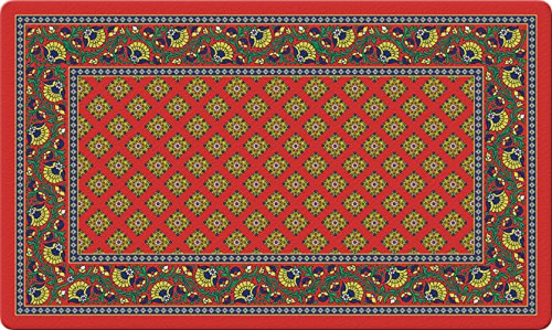 Toland Home Garden French Paisley 18 x 30 Inch Decorative Floor Mat Red Design Pattern Doormat