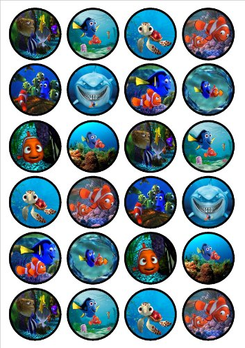 24 Finding Nemo Dory Edible PREMIUM THICKNESS SWEETENED VANILLA, Wafer Rice Paper Cupcake Toppers/Decorations ()