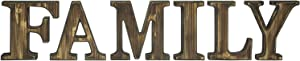 MyGift Rustic 2 Tone Burnt Wood Wall Mounted or Tabletop Family Cutout Block Letters Decorative Sign