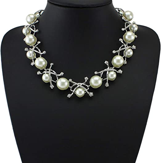 Woman/'s Fashion  easy match Pearl Necklace Choker Silver Chain  uk