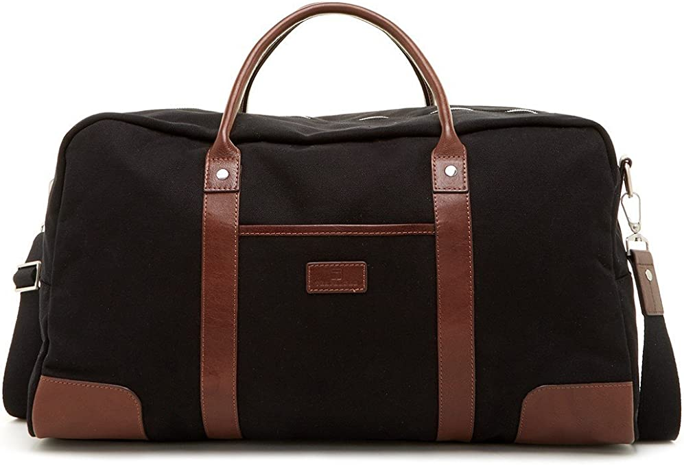 Trafalgar Flight Carry-on Size Duffel Luggage with Leather Trim Black//toffee