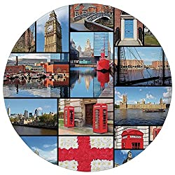 Round Rug Mat Carpet,England,England City Red Telephone Booth Clock Tower Bridge River British Flag with Flowers,Blue Red,Flannel Microfiber Non-slip Soft Absorbent,for Kitchen Floor Bathroom