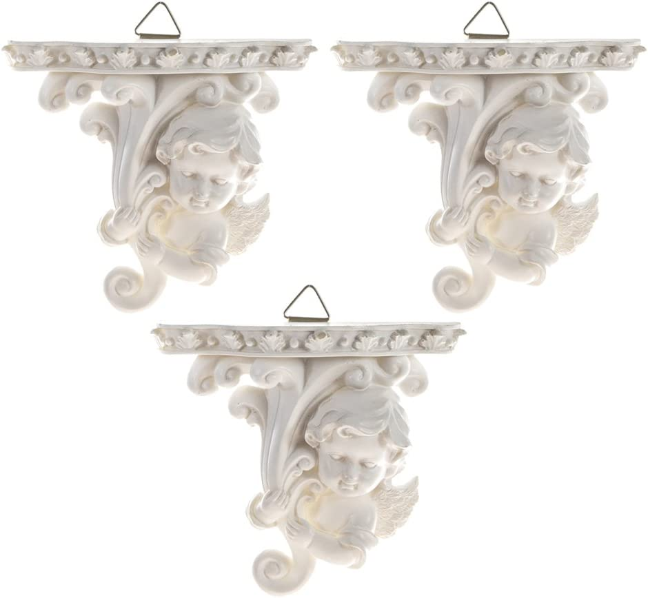 Mega Crafts Religious Wall Décor Angel Figurines Plaque -Set of 3 | Poly Resin Construction | Hang Or Wall Mount Via The Hanging Loop | for Praying, Home Décor, Housewarming Gift, Meditation & More