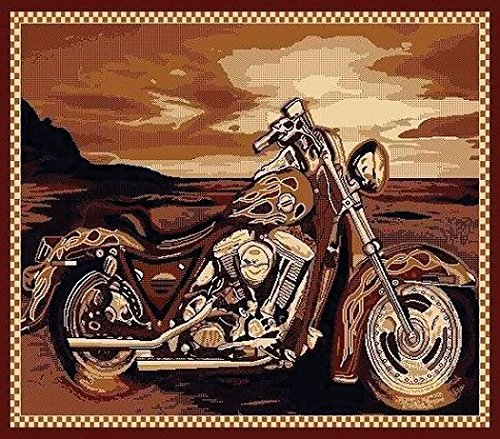 Champion Rugs Modern Contemporary Novelty Motorcycle Area Rug (5' X 7')