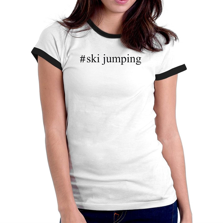 #Ski Jumping Hashtag Ringer Damen T-Shirt