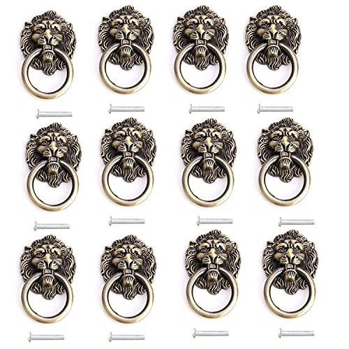 (ZXHAO Lion Head Dresser Drawer Cabinet Door Ring Lion Head Pull Handle Knob 12pcs (Bronze))