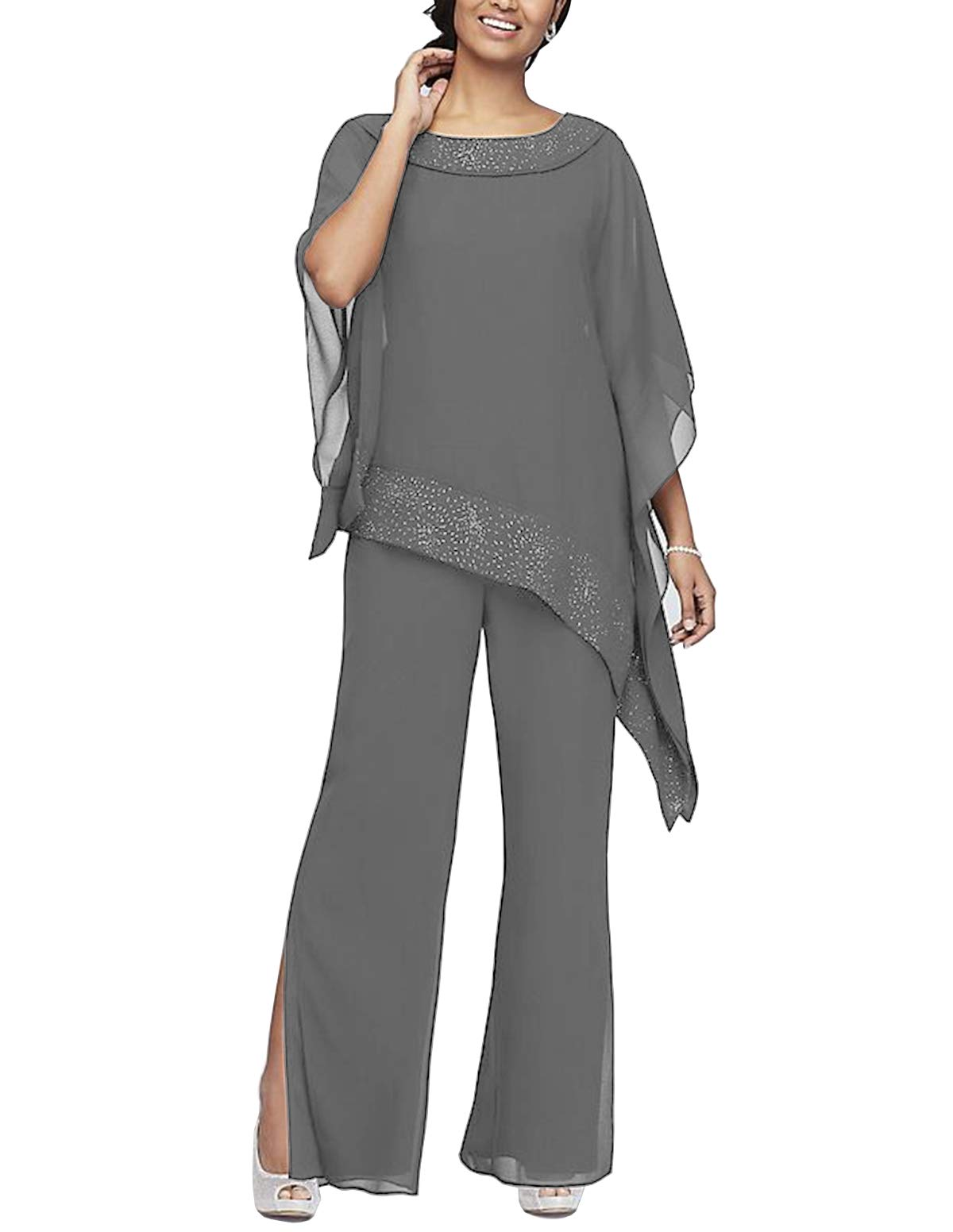 Women\'s Elegant Chiffon 3 Pieces Pant Suits Set Mother of The Bride Dresses  with Outfit Wedding Party Plus Size(Grey,US18 Plus)