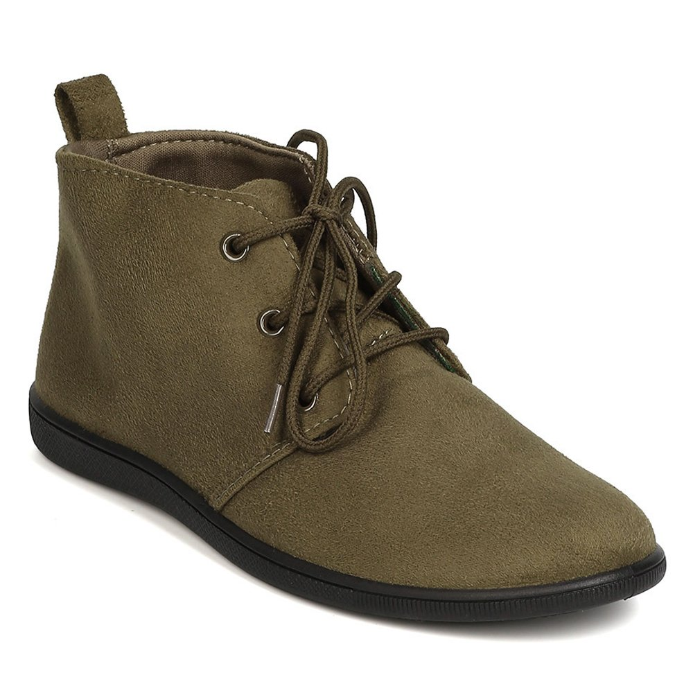 Women's Lace up Flat Booties Slip on Ankle Boots Soft Casual Desert Oxford Khaki 10