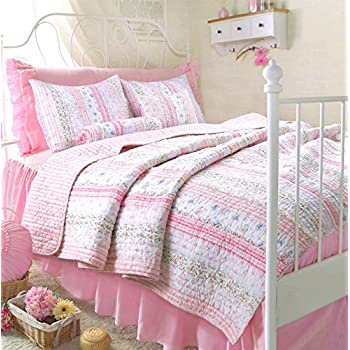 Romantic Chic Lace Quilt Set (Pink, Twin Size)
