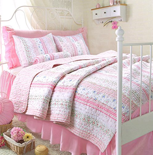 Country Twin Size Bed - Romantic Chic Lace Quilt Set (Pink, Twin Size)