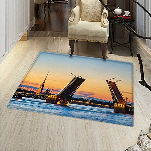 Landscape small rug Carpet Palace Bridge with Peter and Paul Fortress St Petersburg White Nights Russia door mat indoors Bathroom Mats Non Slip 24