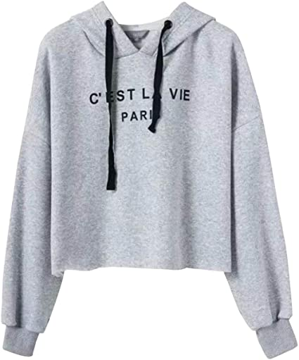 Womens Crop Hoodie Girls Pullover Sweatshirt Top Jumper lot size Print Hooded