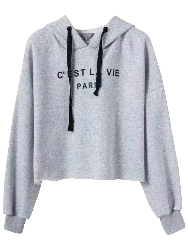 Teen Girls Letter Print Crop Top Hoodie Solid Color Sweatshirt Jacket Sweater Jumper Pullover Tops (Gray, XL)