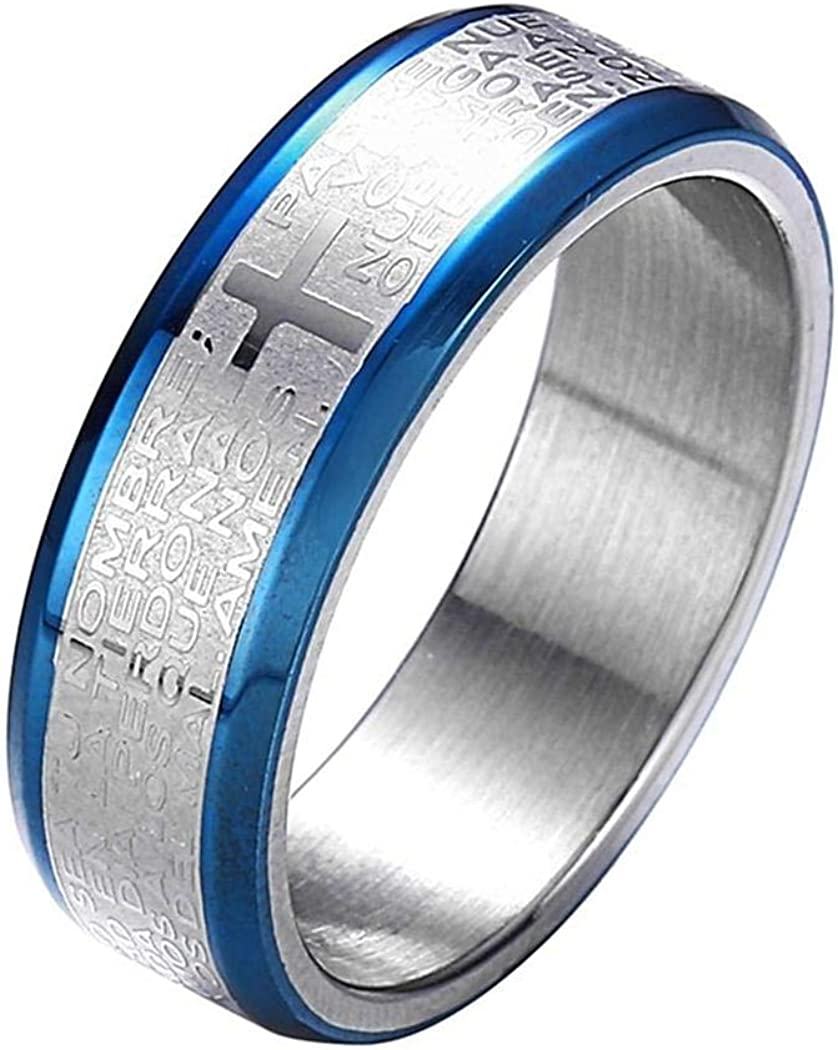 Religious Ring Jesus Cross Bible Verse Engraved Stainless Steel Ring