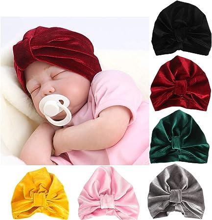 12 Sombreros Turbantes Banda de Cabeza Gorro Suave con Nudo para Beb/é
