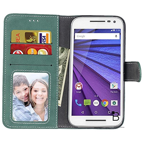 YHUISEN Estilo retro de color sólido Premium PU cuero Wallet caso Flip Folio cubierta protectora de la caja con ranura para tarjeta / soporte para Motorola Moto G3 ( Color : Purple ) Green
