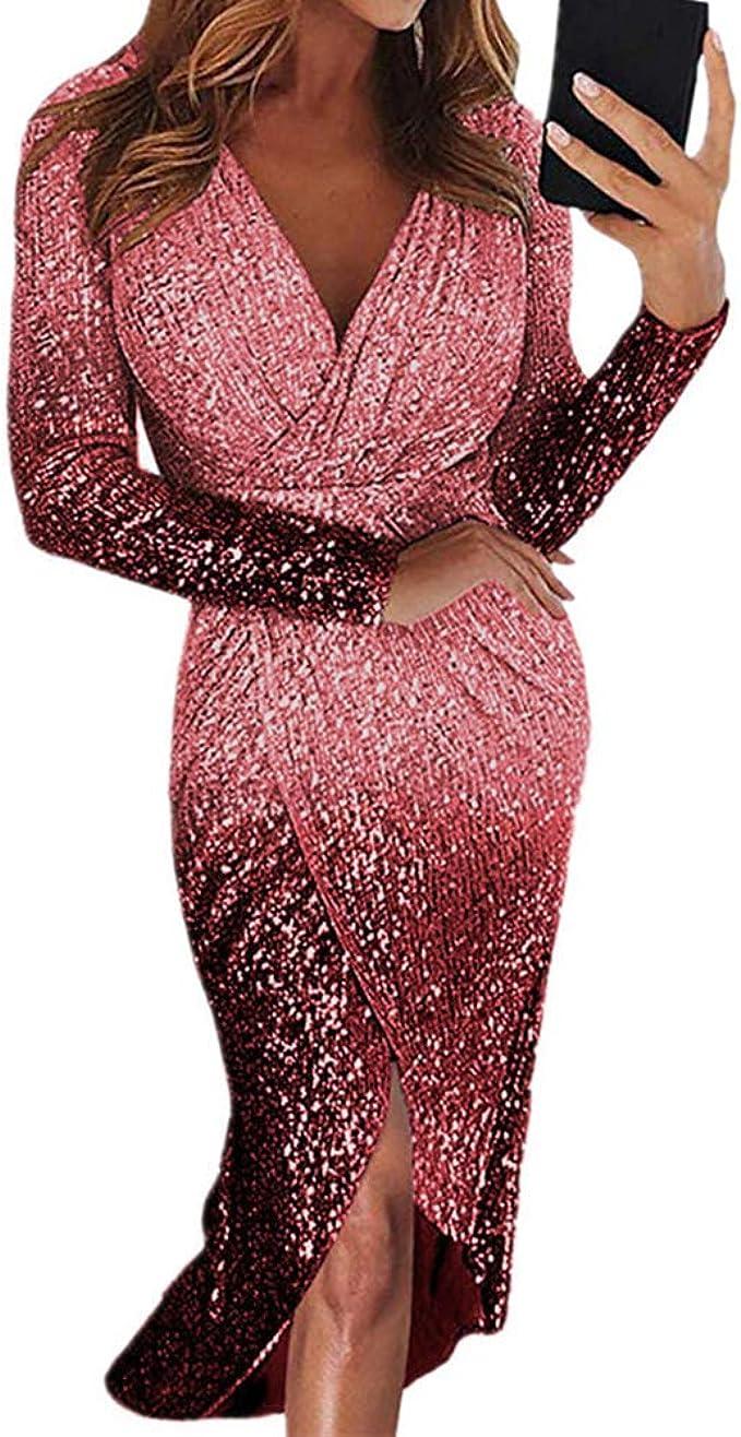 Kleid Langer Rock Abendkleid Langarm Gradient Pailletten