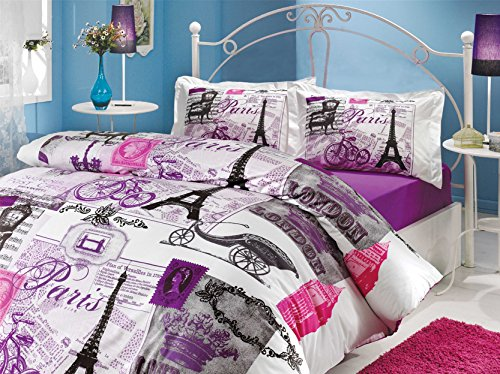Istanbul home collection Paris Series Ranforce Turkish Cotton 4-Piece Eiffel Tower Themed Full Queen Quilt Duvet Cover Set, Vintage Purple (Eiffel Tower Comforters)