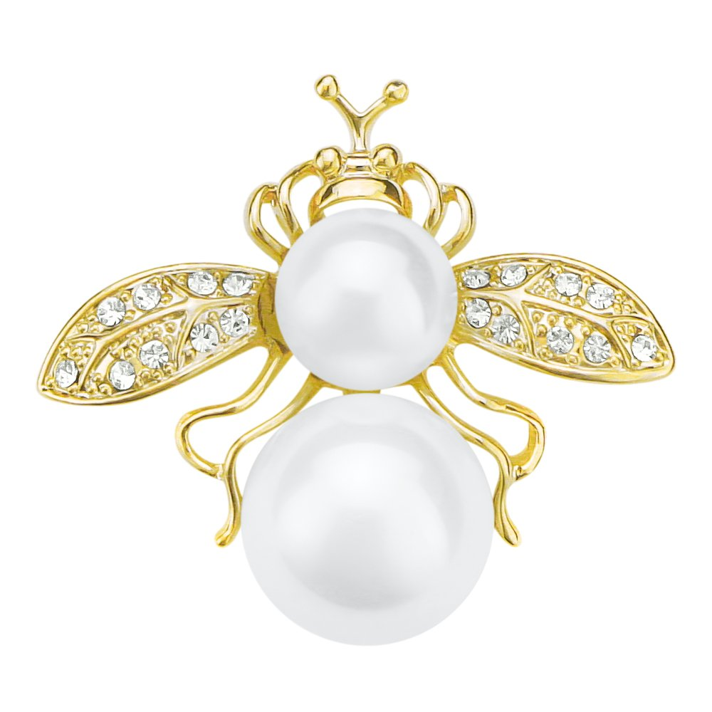 sourjas Fashion Cute Animal Jewelry Faux Pearl Rhinestone Gold-Tone Bee Insect Lovely Brooches and Pins