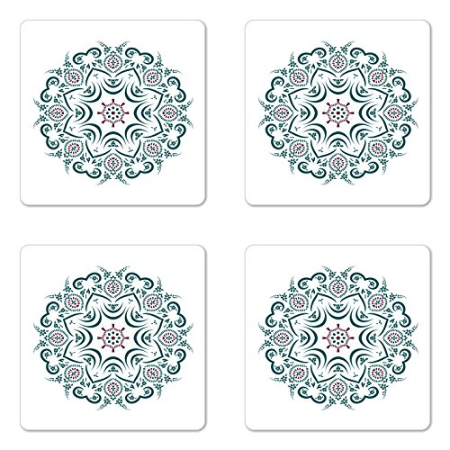 Mandala Coaster Set of Four by Lunarable, Authentic Tibetan Temple Figured Stylized Celestial around Unifying Centre Print, Square Hardboard Gloss Coasters for Drinks, Green Red (Desk Collection Figured)