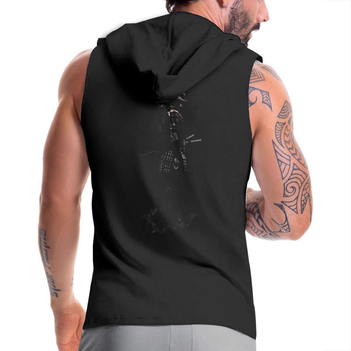 SHENGN Mans Designed Classic Hooded Bag Armored Samurai Zipper Hoodie