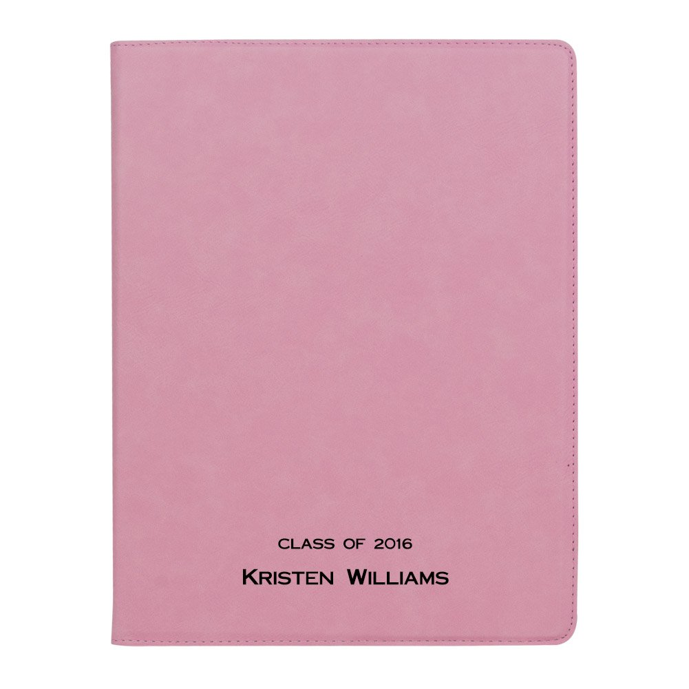Erie 216 Customized Faux Leather Executive Padfolio (Name) (Pink)