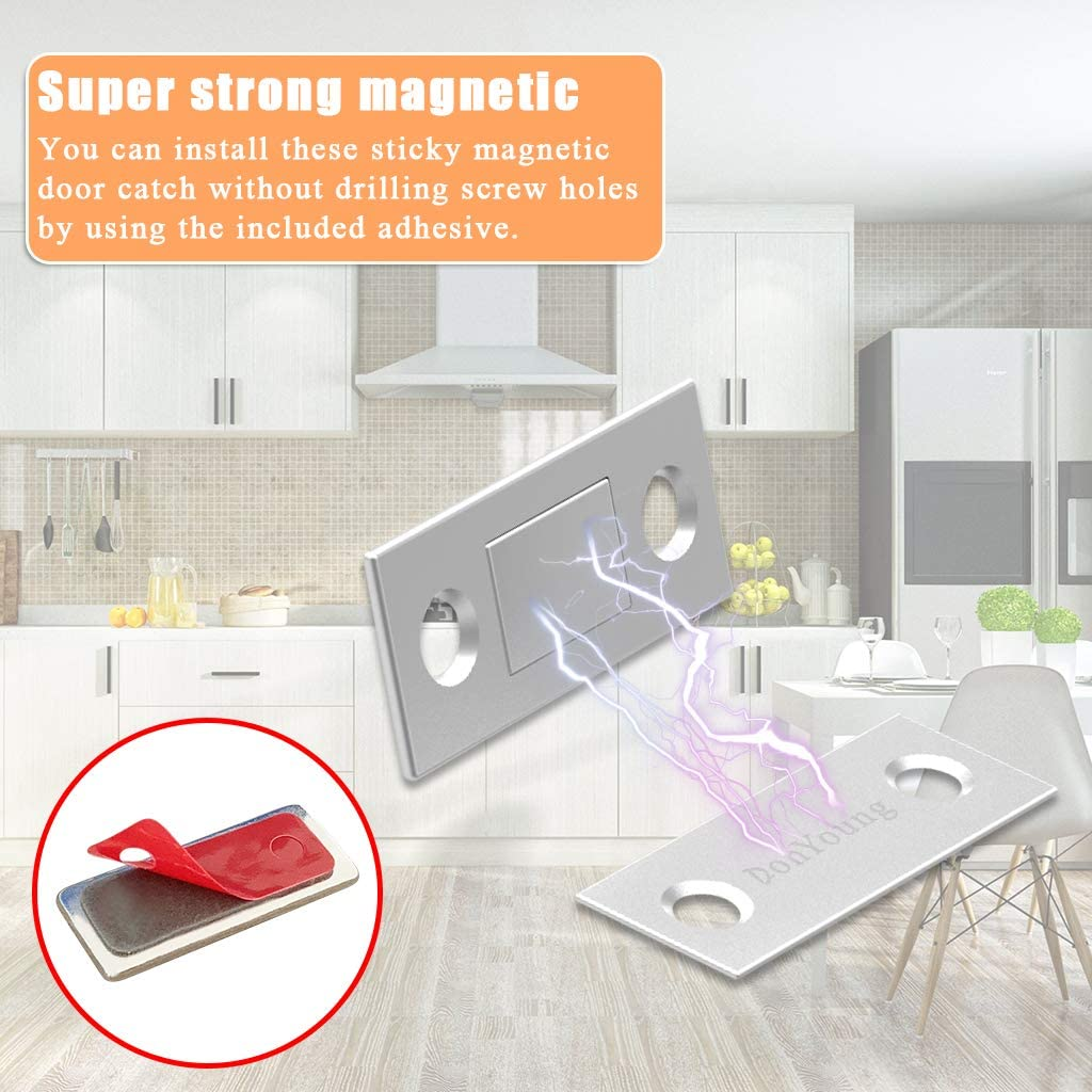 DonYoung Magnetic Door Catch 8 Pack Ultra Thin Cabinet Magnetic Catch with Strong Adhesive Sticker Slim Drawer Magnets Locks Furniture Safety Latches for Kitchen Cupboard Closet Sliding Door Closure
