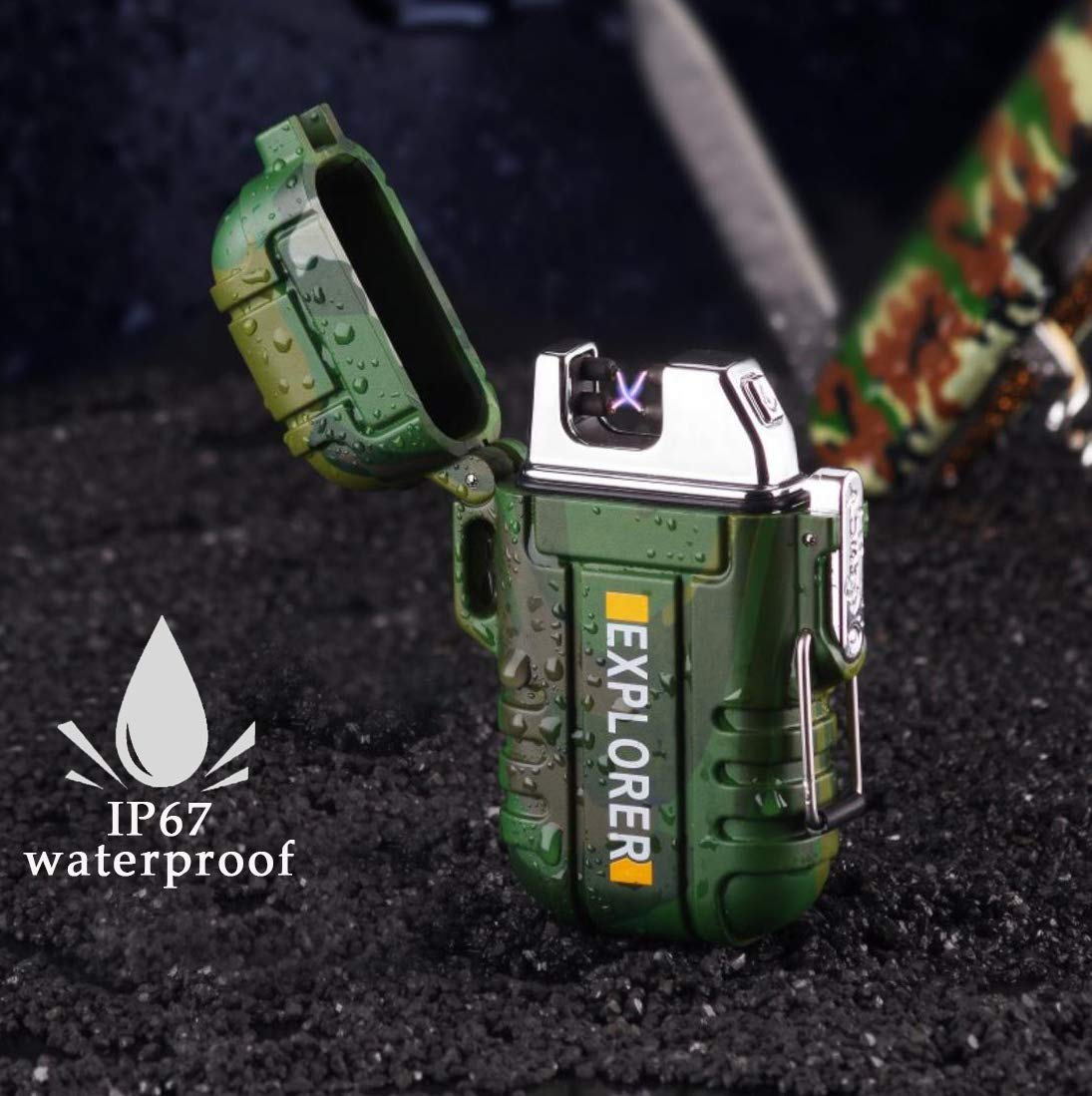phoenix outdoor Military Glass IP67 Waterproof Electronic USB Lighter, Plasma Lighter, USB Rechargeable Arc Lighter, Windproof Dual Arc Lighter Outdoor Sports Camping Hiking Survival