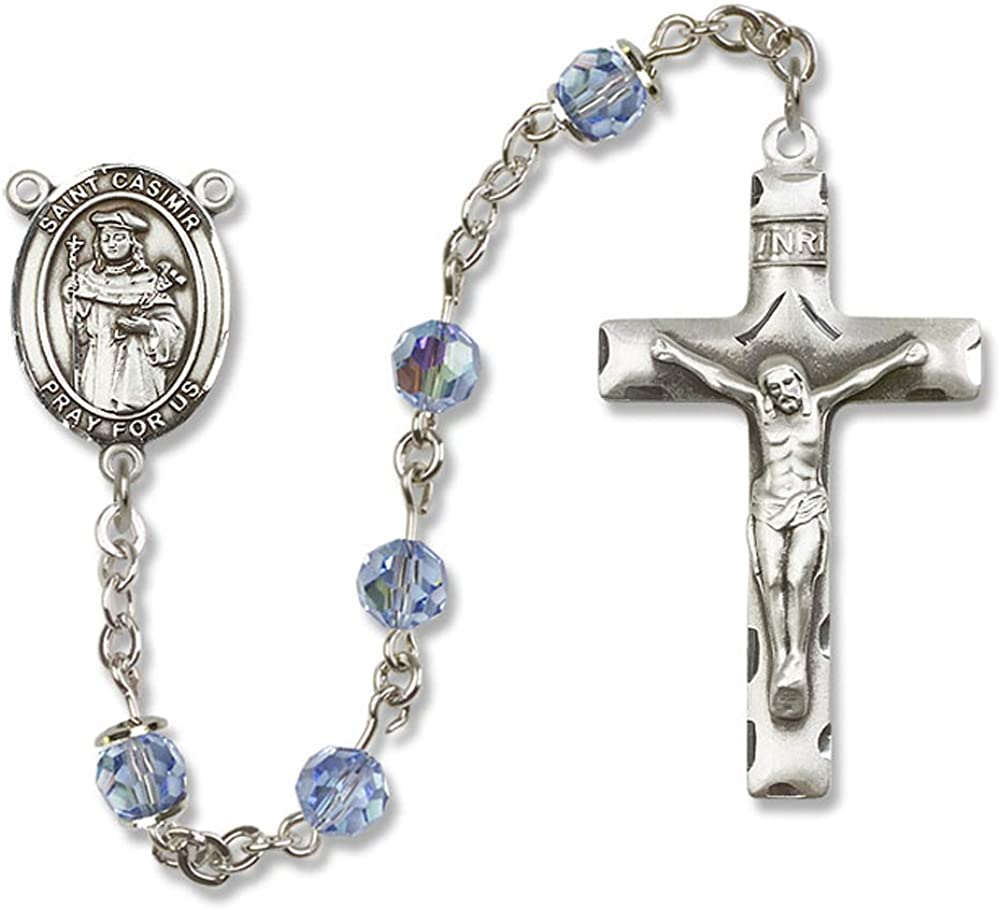 6mm Swarovski St All Sterling Silver Rosary with Light Sapphire Casimir of Poland Center St Casimir of Poland is the Patron Saint of Bachelors//Poland. Austrian Tin Cut Aurora Borealis Beads