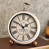 Y-Hui Desktop Clock Swing-Bed In The Living Room Small Alarm Mute The Countryside Antique Clocks Decor, White Roman Numerals