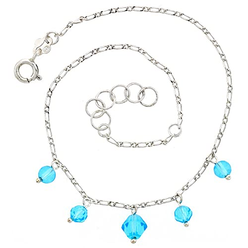 30b8d74c3 Amazon.com  Sterling Silver Anklet Natural Blue Topaz Beads Bicone Crystal