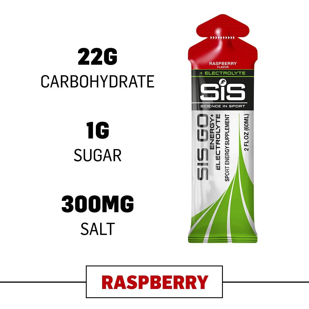 Science in Sport Energy Gel Pack, SIS Energy Gel + Electrolyte, 22g Fast Acting Carbs, Performance & Endurance Gels, Raspberry Flavor - 2 Oz. (30 Pack) by Science in Sport (Image #1)