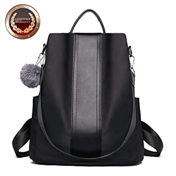 37971d08170f Amazon.com  Fashion Backpack Purse for Women Nylon Backpacks Anti Theft  Ladies Casual Daypack Stylish Shoulder Bag  Amkoo