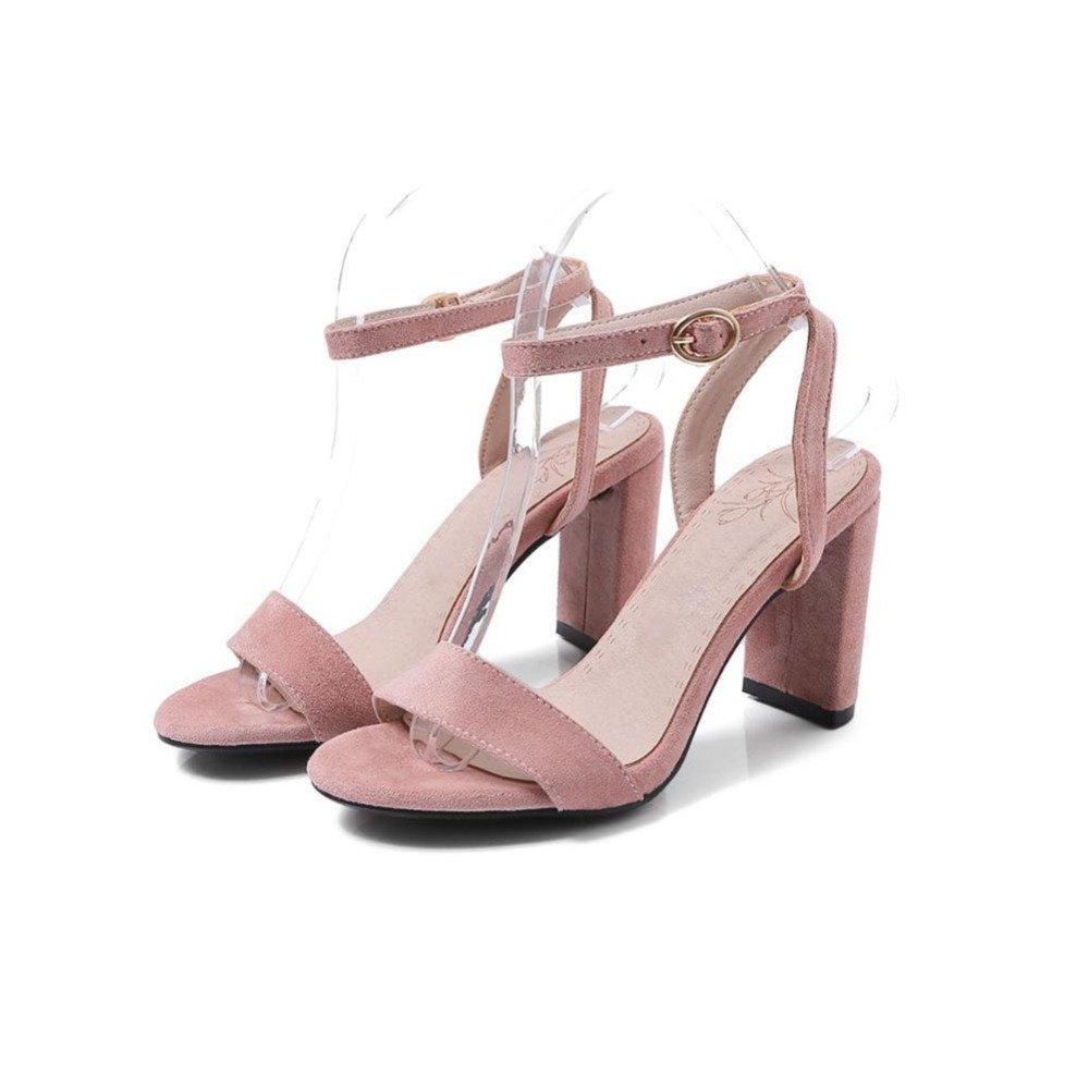 ZHWEI Zapatos de tacón AN9472 Primavera y Verano Sandalias (Altura del talón 8CM) EU36/UK4/CN36|Black
