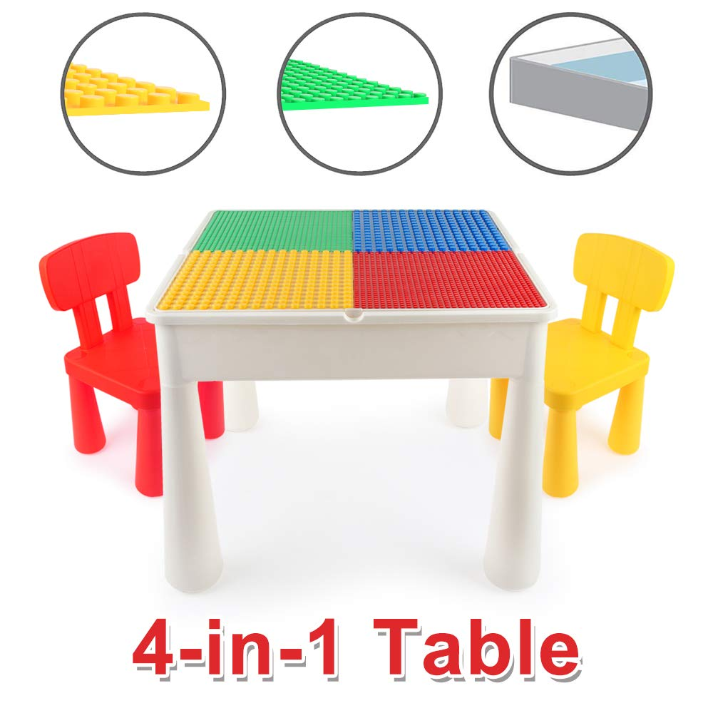 LBLA Kids Activity Table Set 4-in-1 Building Block Table Water Table Craft Table with 2 Chairs for Toddles by LBLA