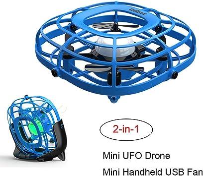redreamsky Drone 2 en 1 Juguetes Regalo Mini Ventilador Portátil UFO Mini Drone Quadrruplo de inducción de 4 Ejes Mini: Amazon.es: Electrónica